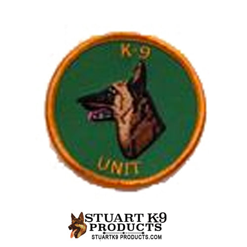 K-9 Unit Belgian Malinois Round Head Patch Green/Gold |Left Facing