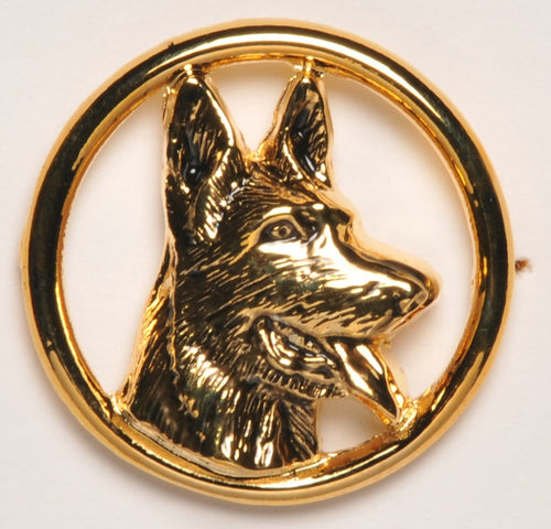 German Sheperd Head K9 Circle Collar Pin