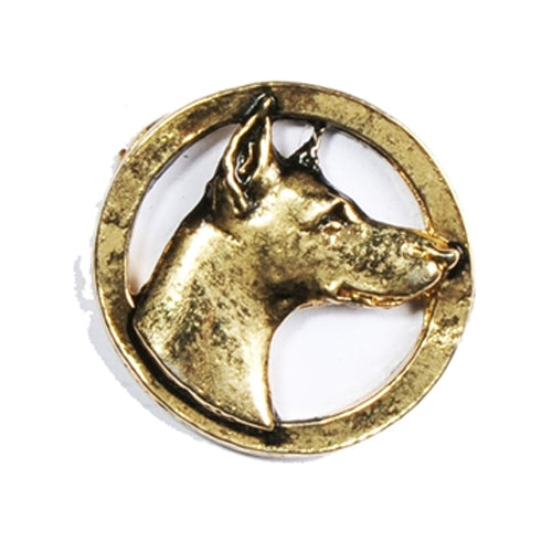 Doberman Head Circle Pin