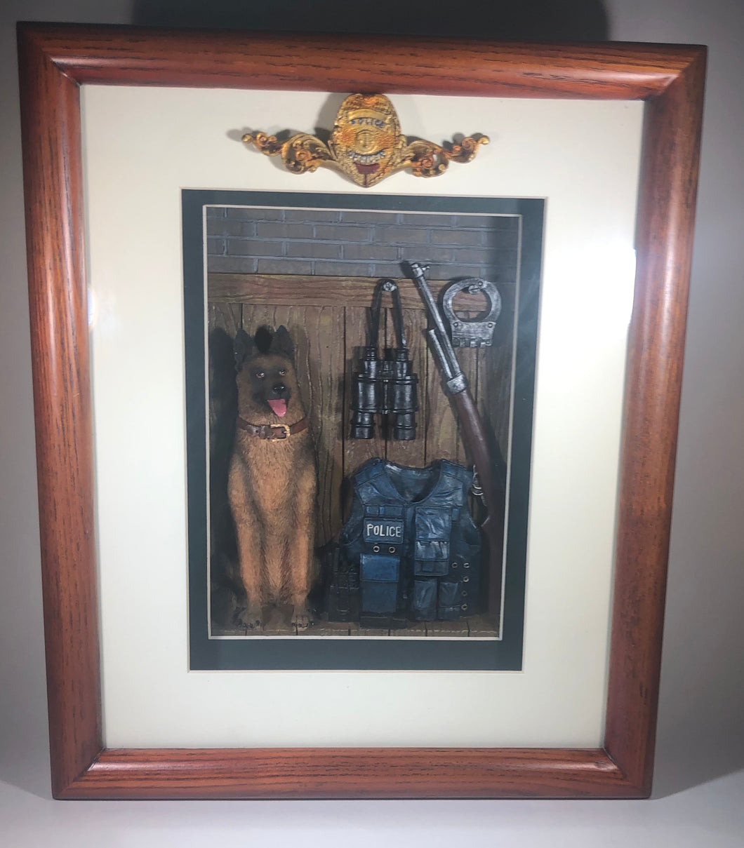 German Shephard K9 Unit Shadow Box Collectible