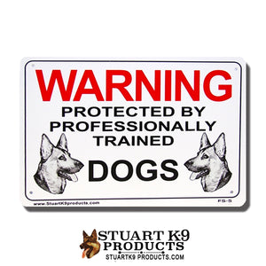 Warning Protected by Professionally Trained Dogs | Shepherd Heads