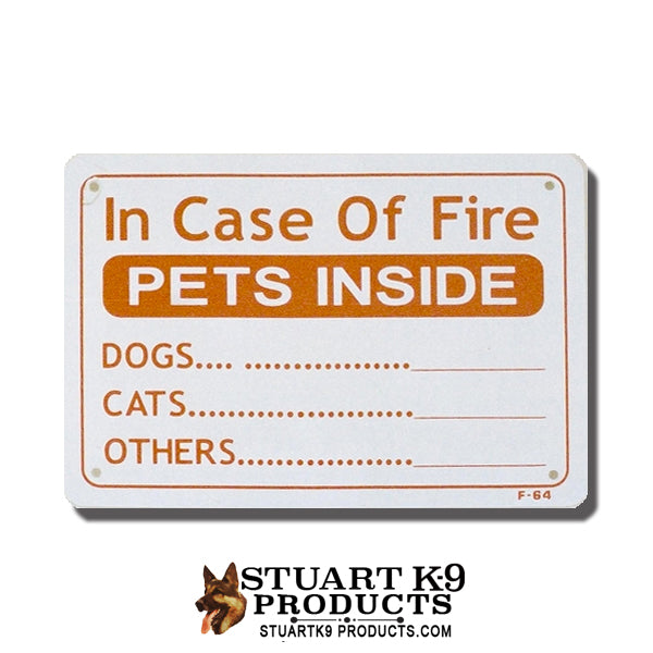 In Case of Fire Pets Inside - Window Sign