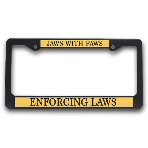 K9 License Plate Frame| Jaws With Paws - Enforcing Laws
