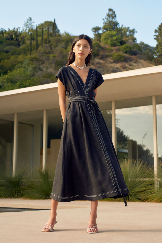 Armeria Belted Midi Dress