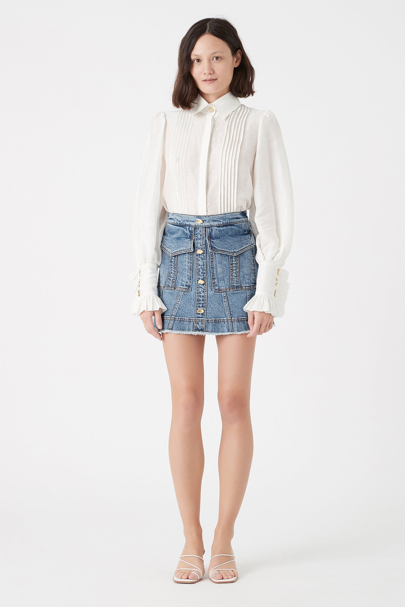 Mimosa Denim Pocket Skirt Outfit View