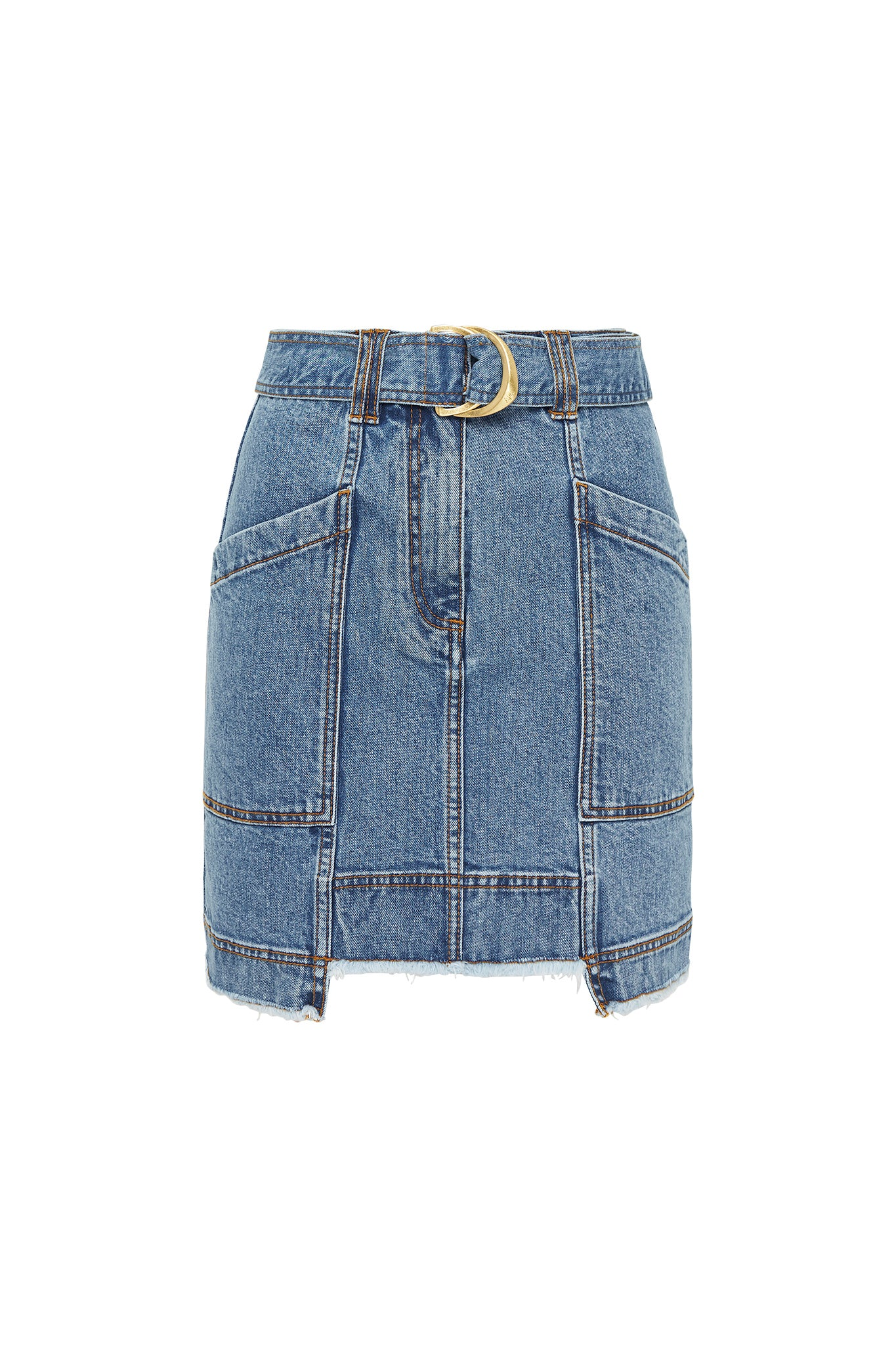 Paperbark Denim Belted Mini Skirt Product View