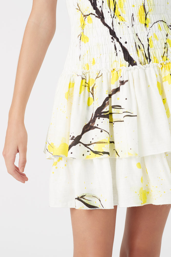 Mimosa Shirred Mini Dress