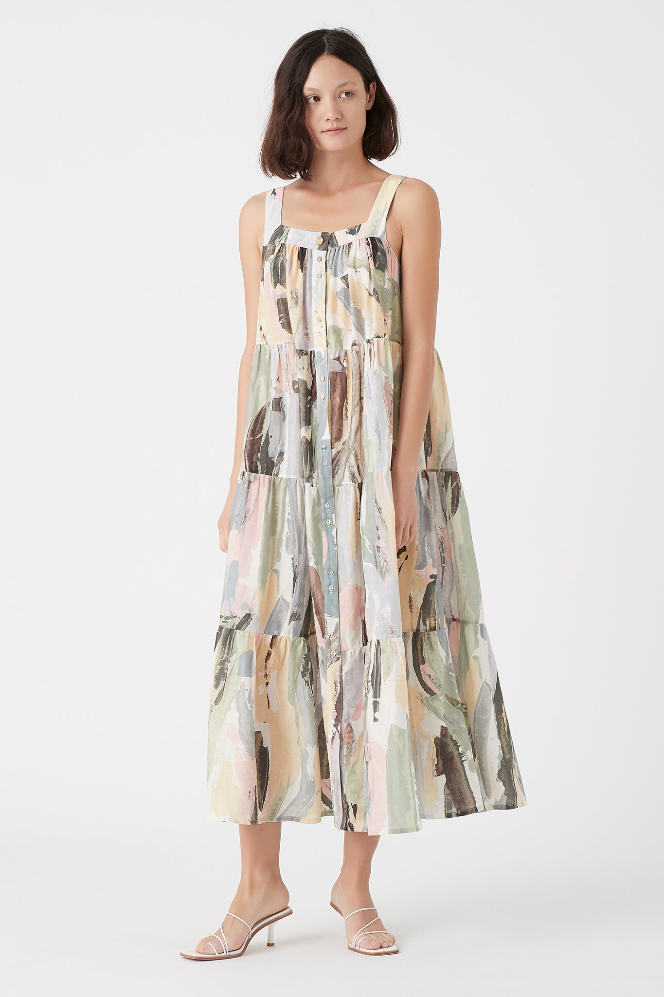 Paperbark Tiered Midi Dress Outfit View