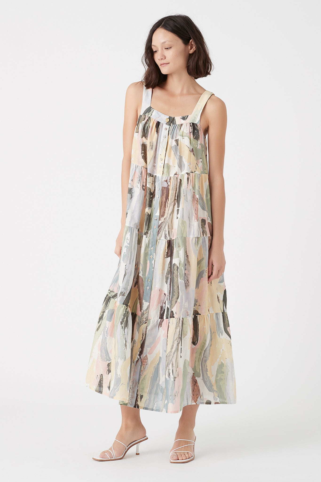 Paperbark Tiered Midi Dress Product View