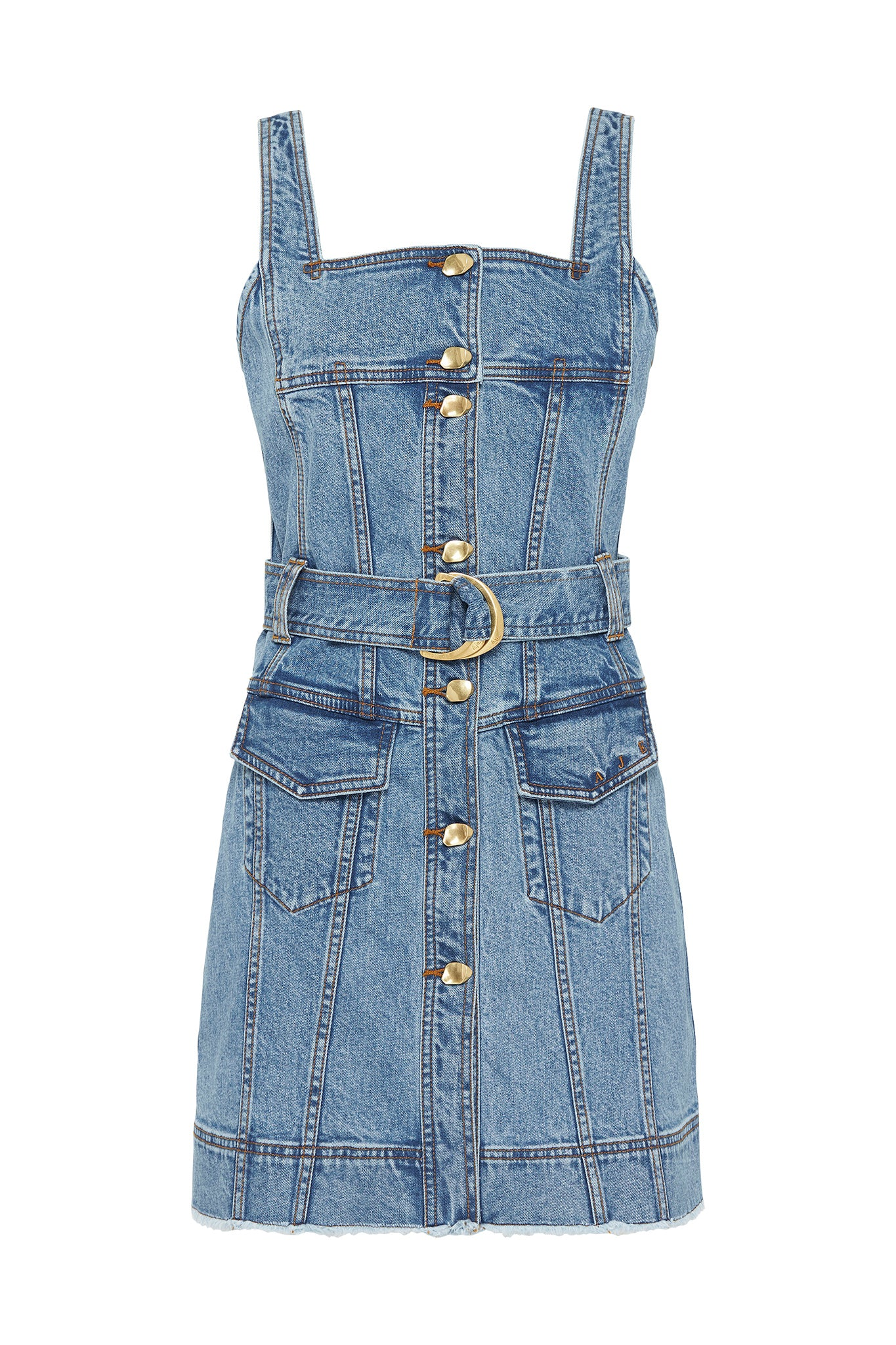 Paperbark Denim Belted Mini Dress Product View