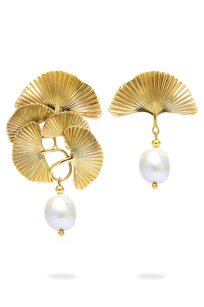 The Double Petal Pearl Studs