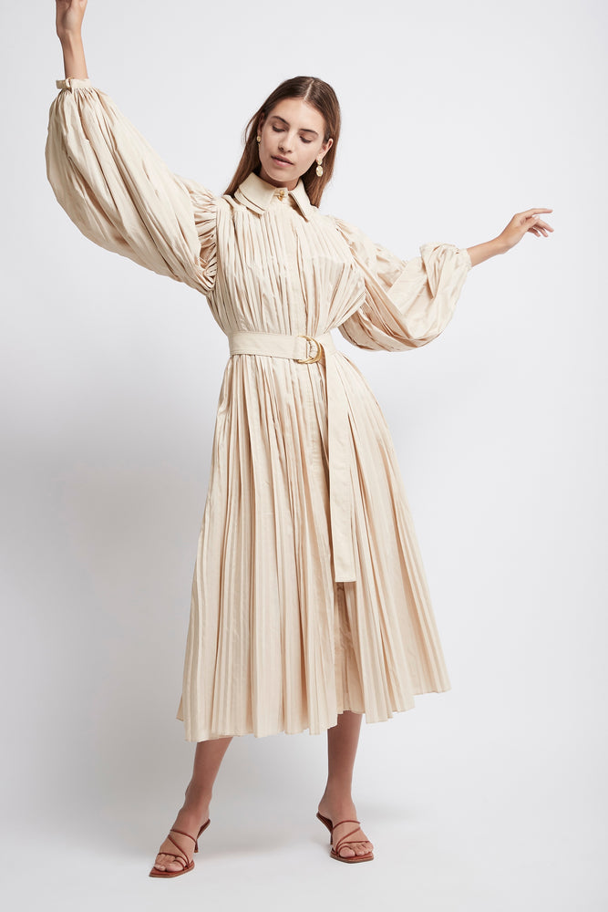 Prima Pleated Shirt Dress