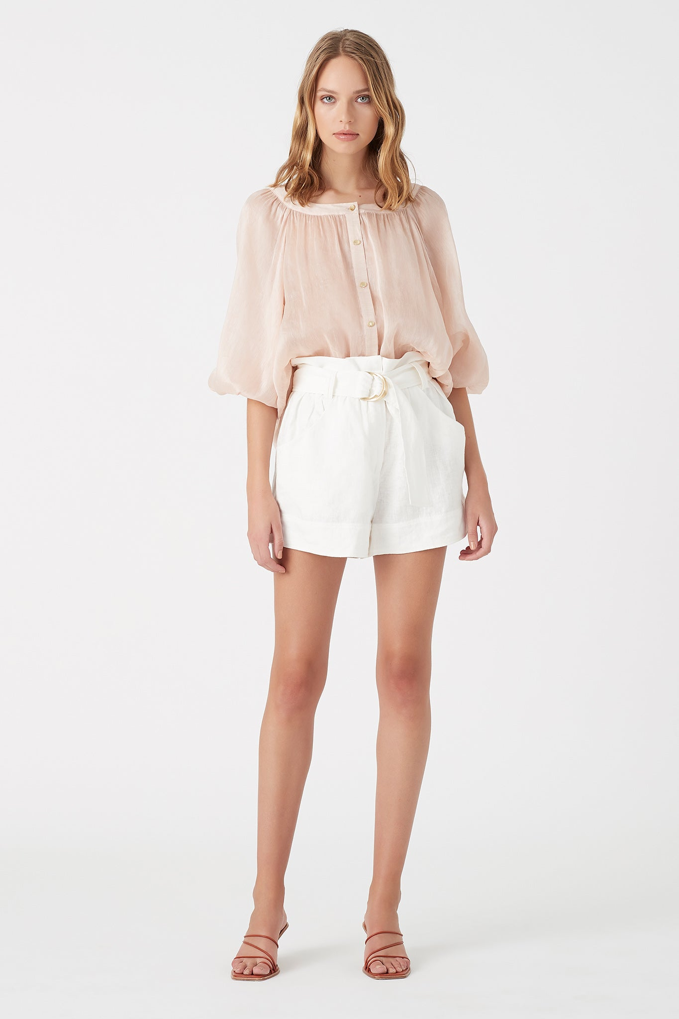Mimosa Belted Paperbag Short Outfit View