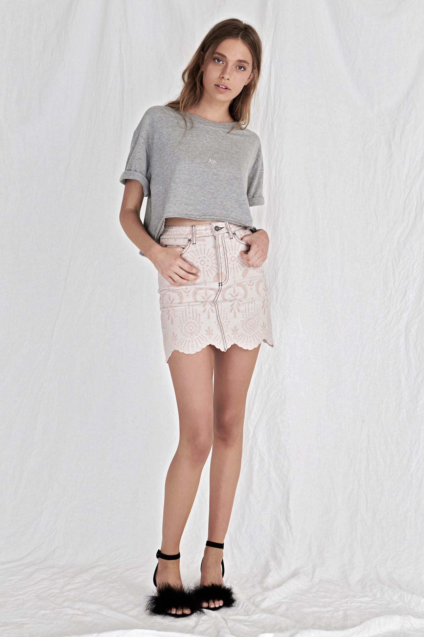 Aje Cropped Tee Outfit View