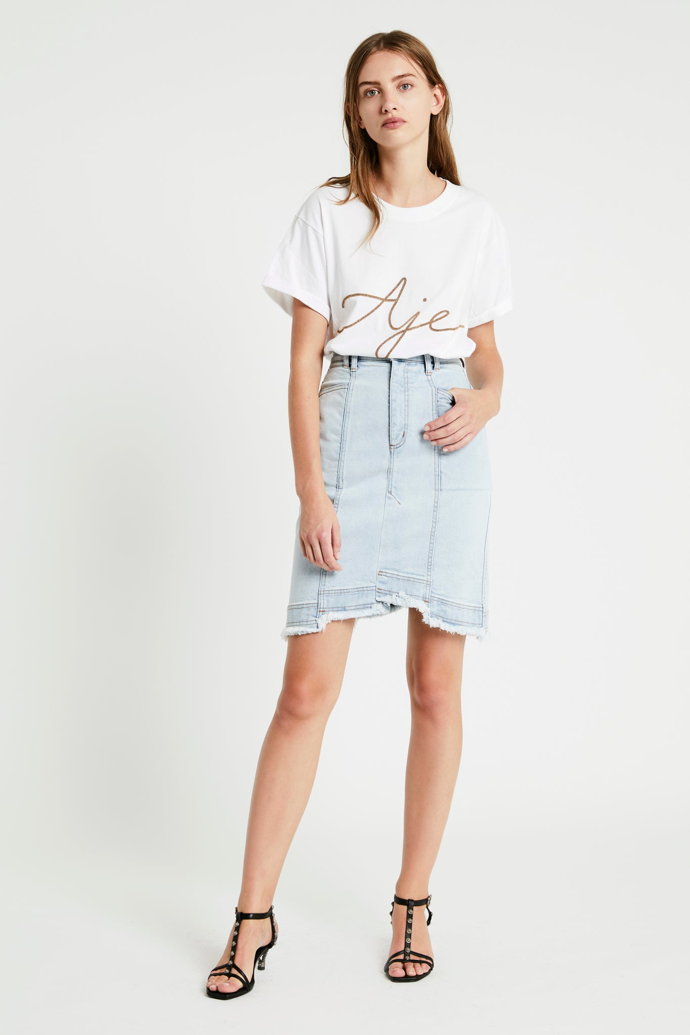 Penelope Denim Skirt Outfit View