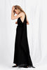 The Georgia Maxi Dress is a floor length style designed with a halter neck fasten, fitted waist billowy sashes falling from the back. Silk Linen