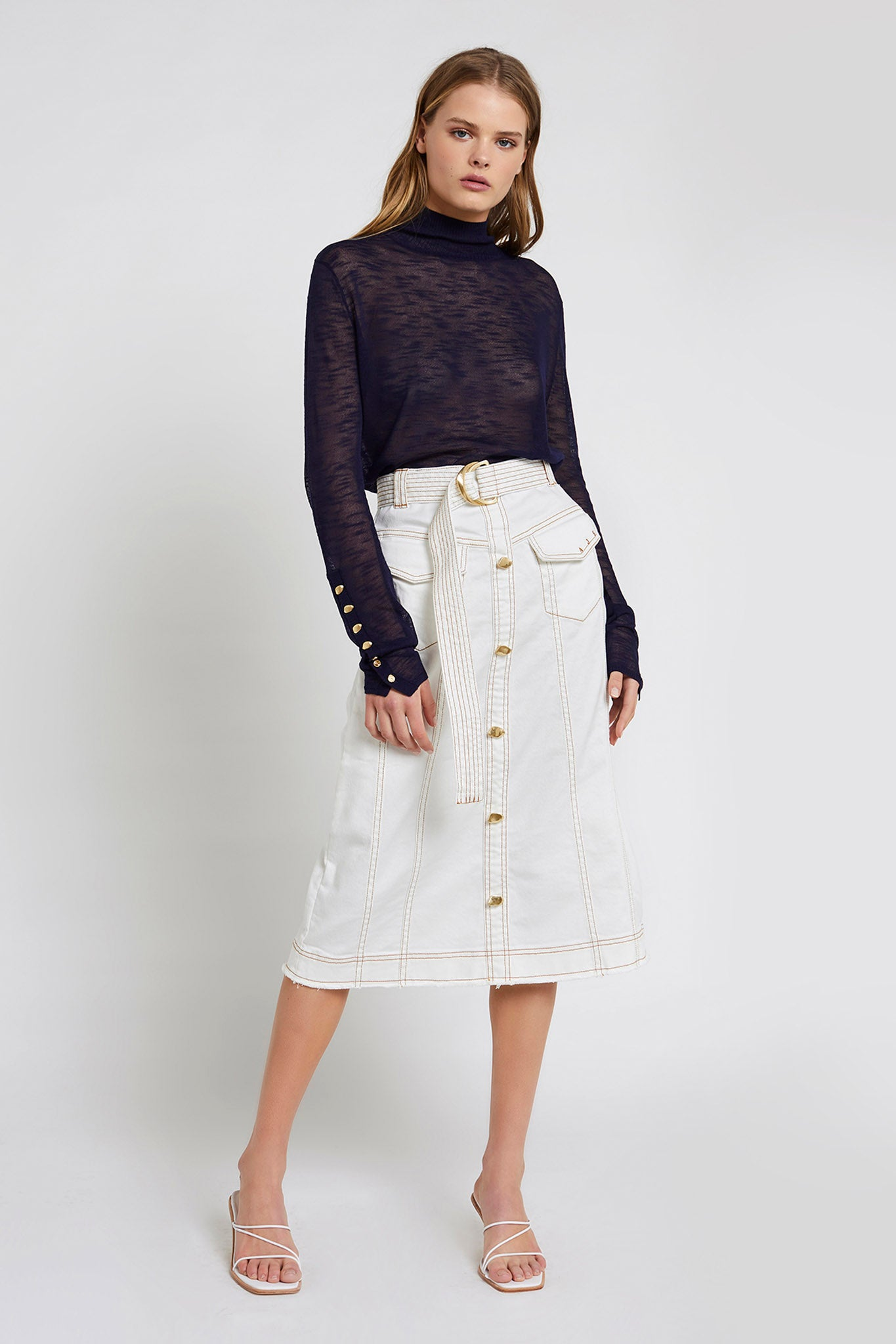 Louie Denim Midi Skirt Outfit View