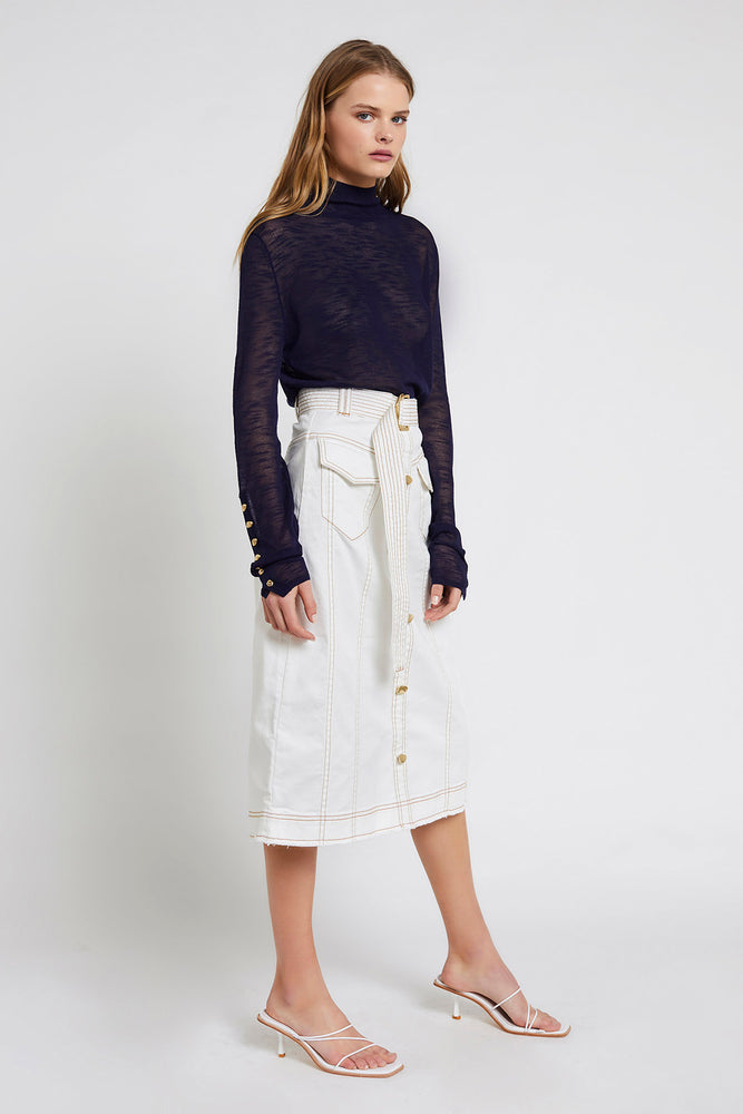 Louie Denim Midi Skirt