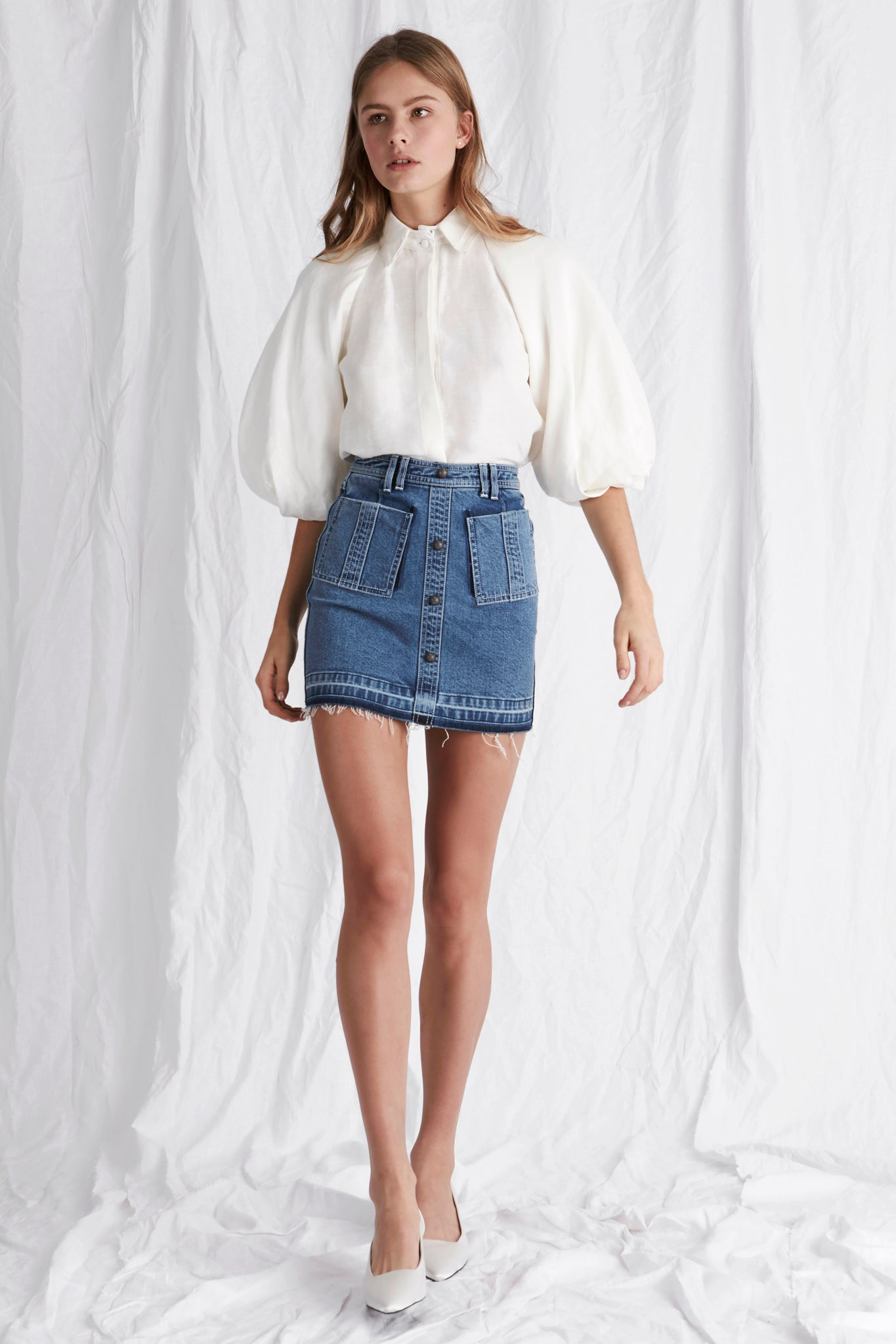 Paloma Denim Mini Skirt Outfit View