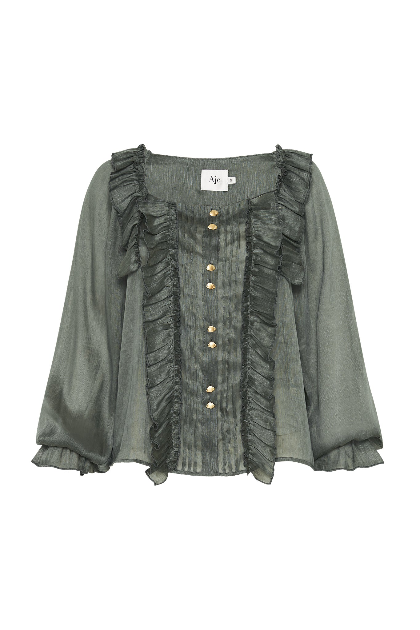Paperbark Square Frill Blouse Product View
