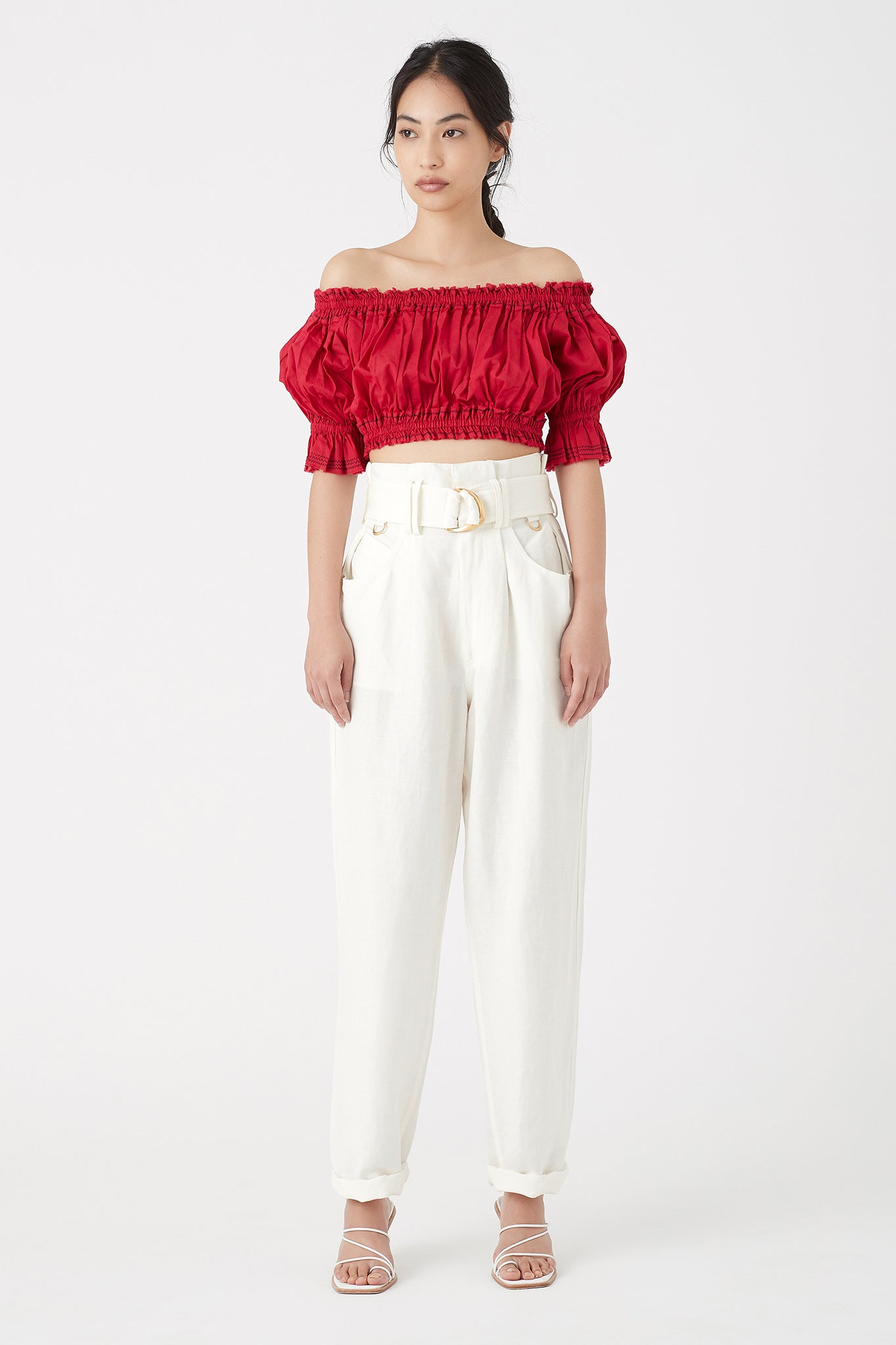 Banksia Ruffle Crop Blouse Outfit View