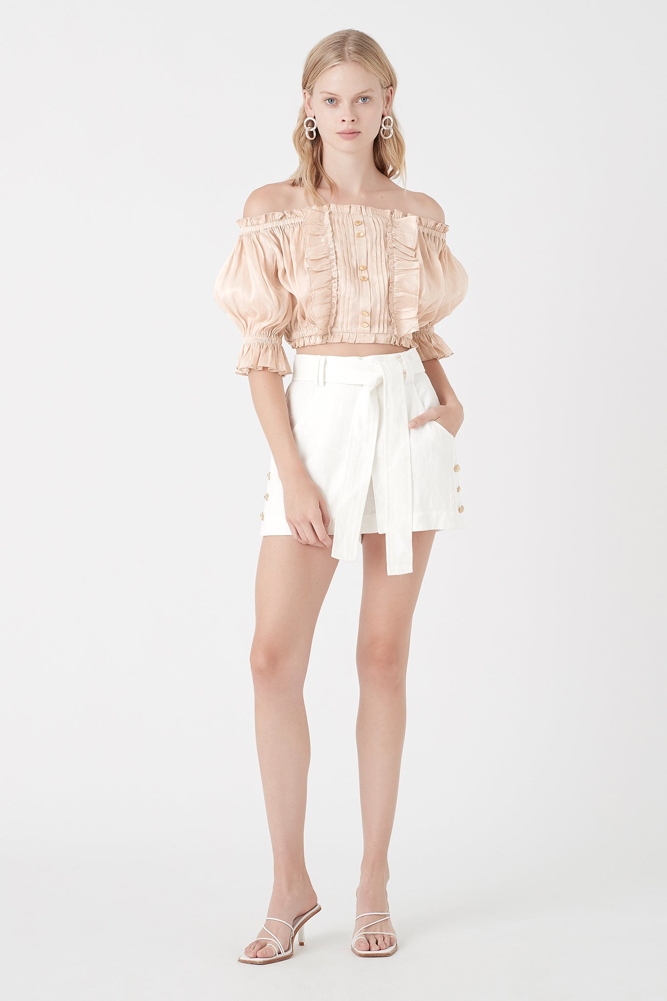 Salt Lake Peasant Crop Blouse Outfit View