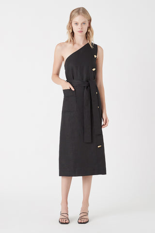 Salt Lake Asymmetric Belted Midi Dress