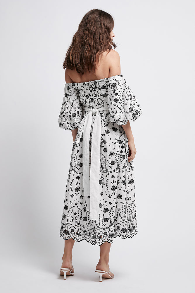 Armeria Off-Shoulder Broderie Midi Dress