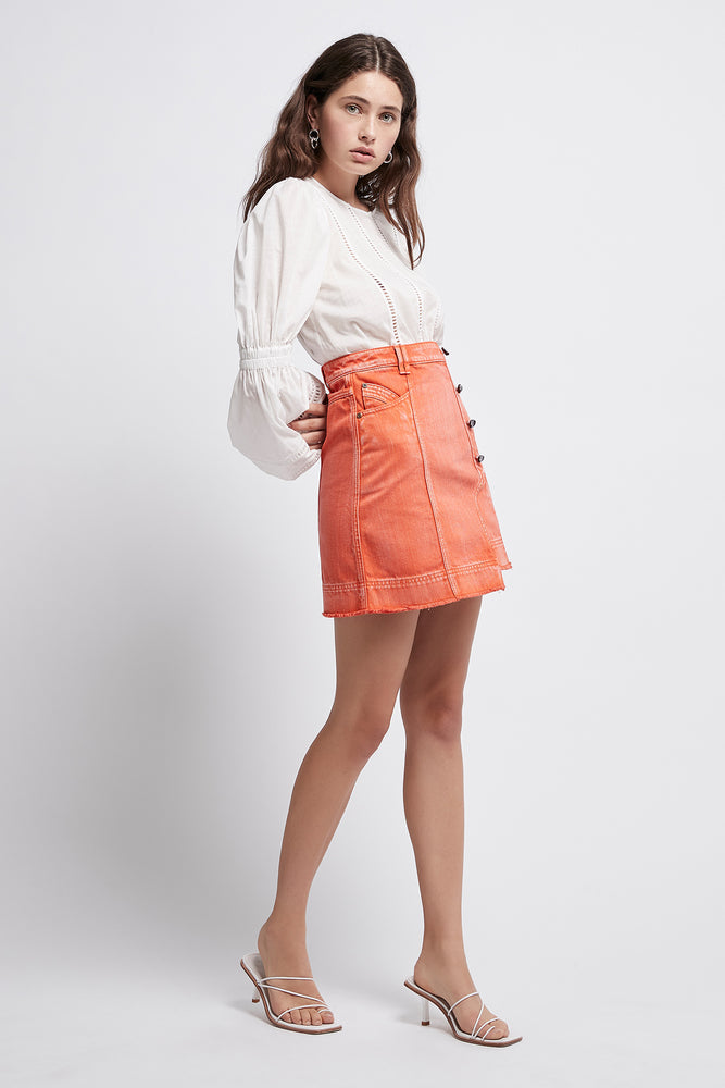 Armeria Buttoned Denim Mini Skirt