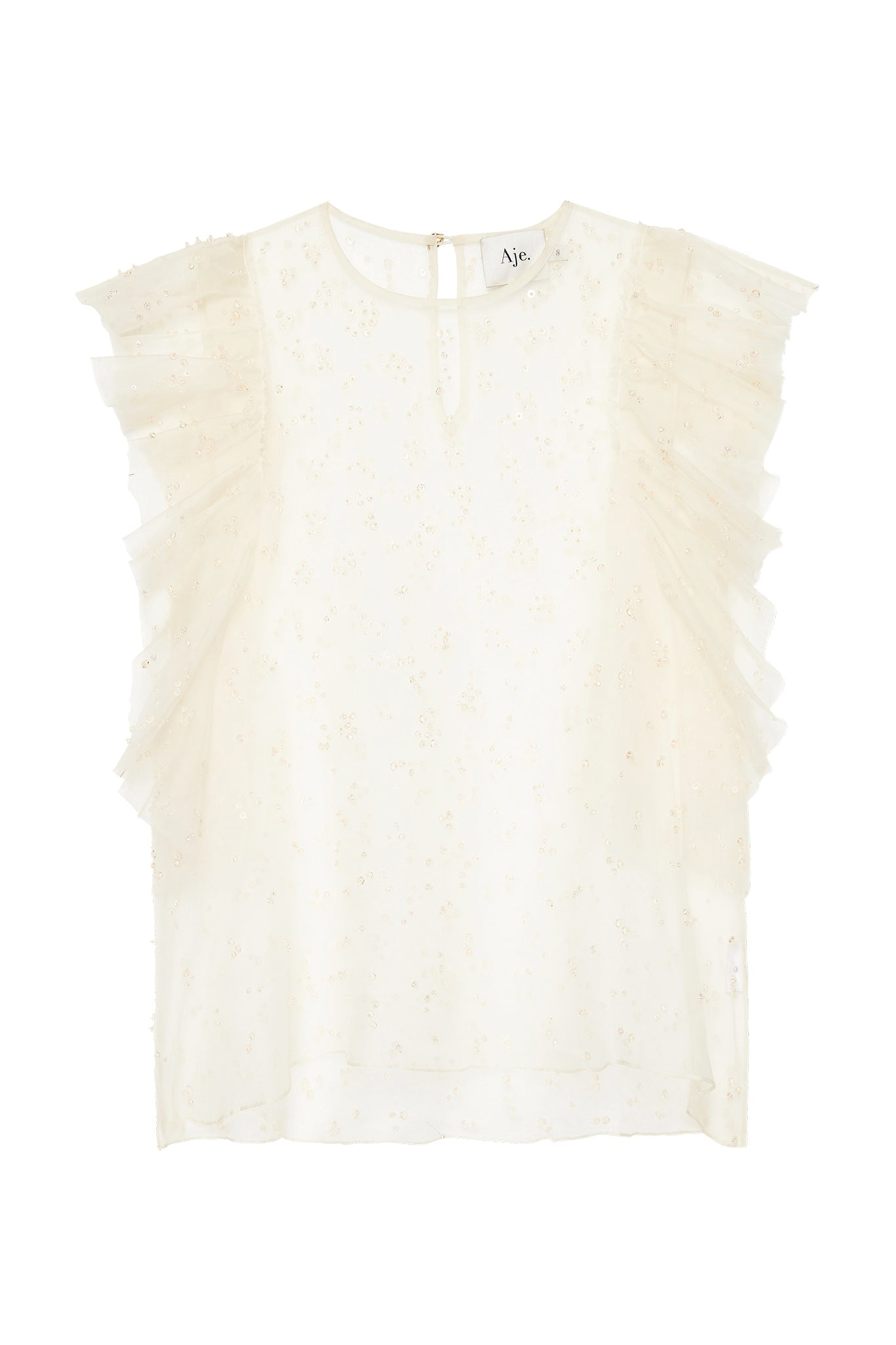 Eucalypt Embellished Frill Top Product View