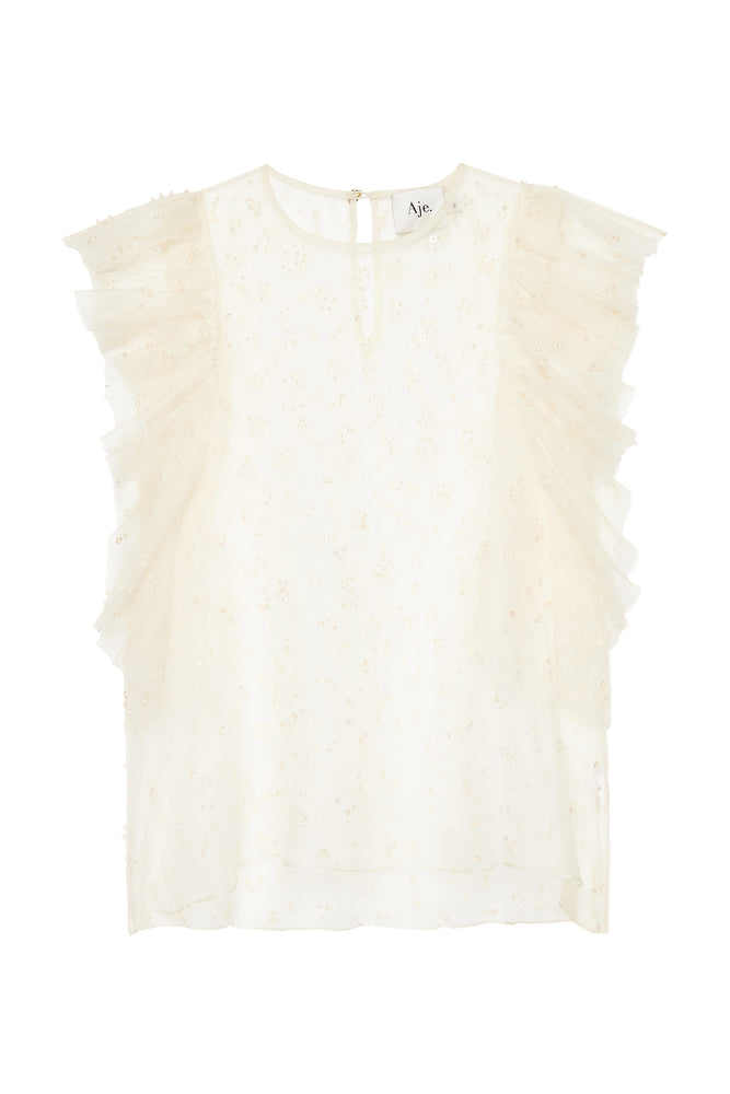 Eucalypt Embellished Frill Top