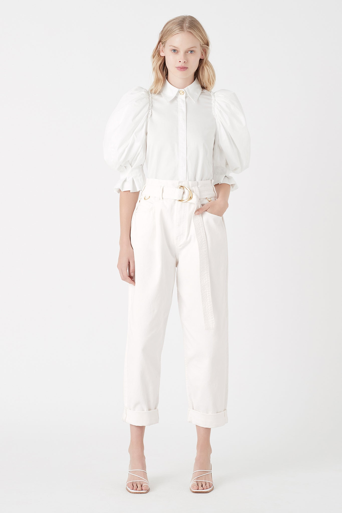 Eucalypt Puff Sleeve Shirt Outfit View