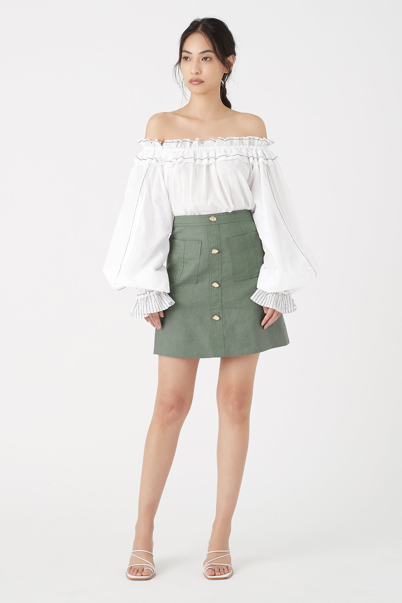 Paperbark Linen Mini Skirt Outfit View