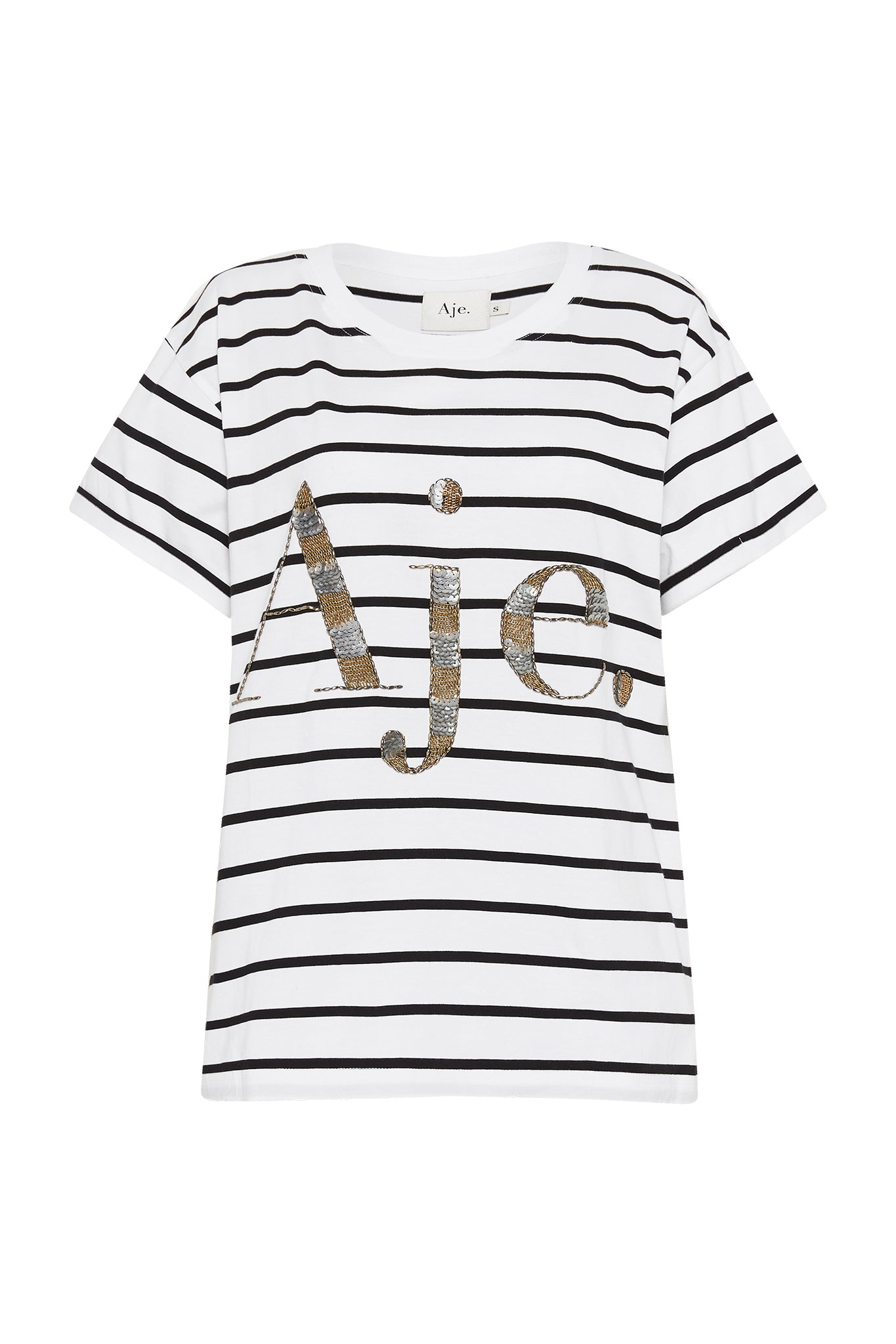 Aje Stripe Logo Tee Product View