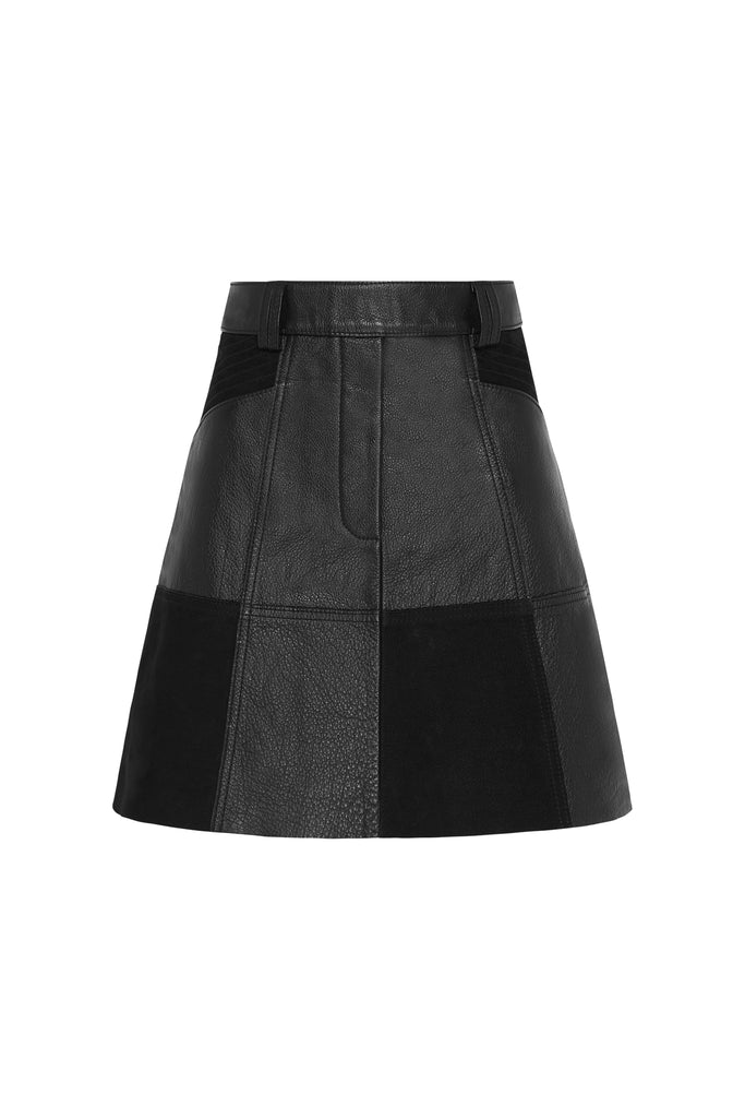 Motocyclette Leather Patch Mini Skirt