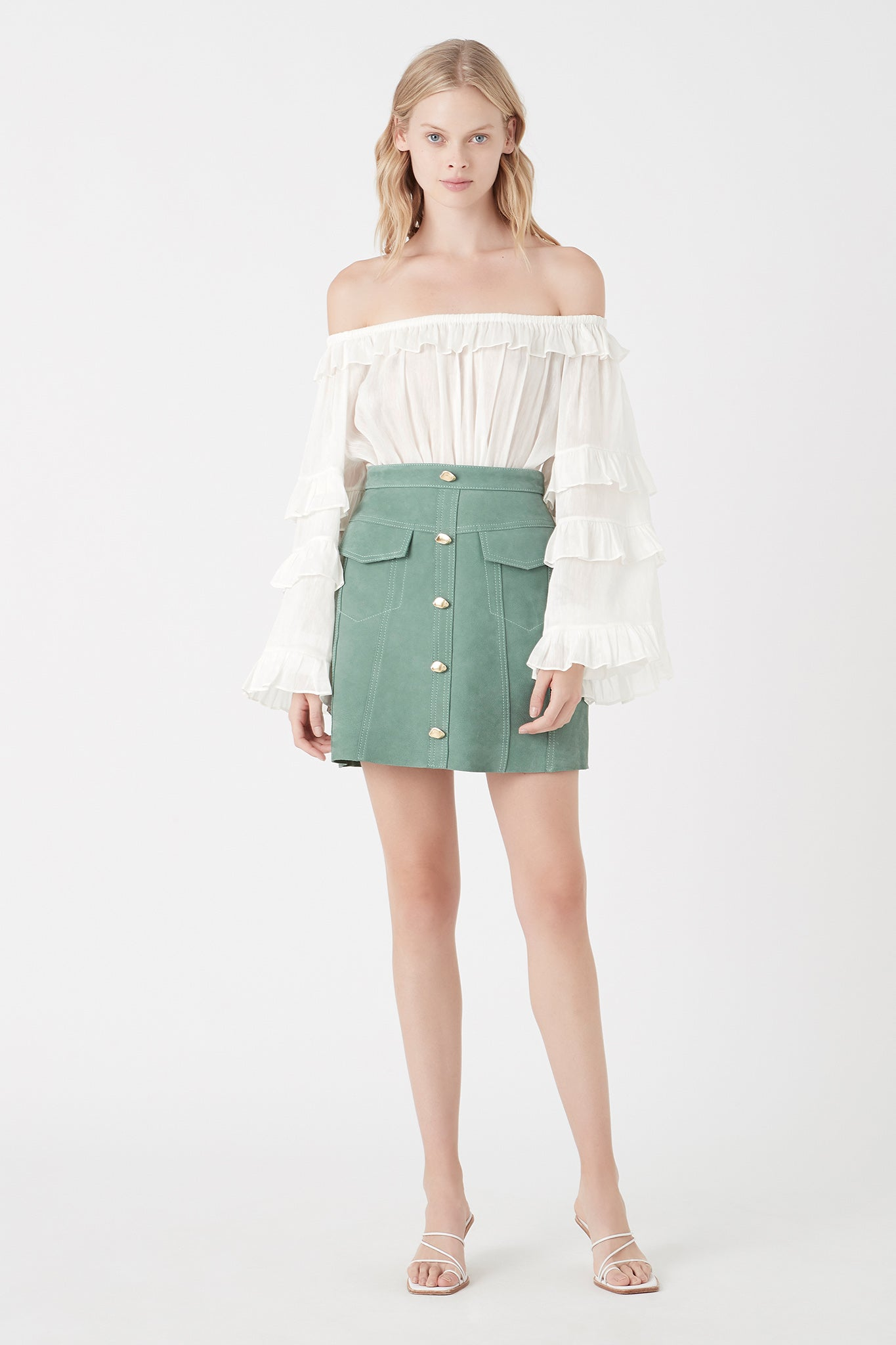 Eucalypt Mira Leather Mini Skirt Outfit View