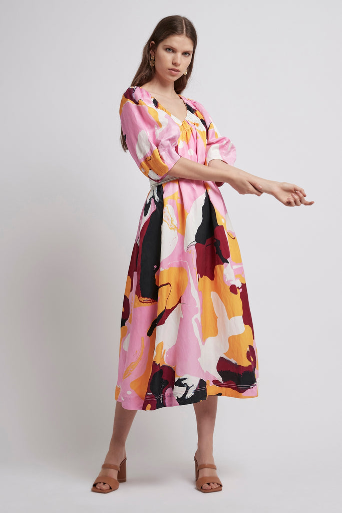 Psychedelia Midi Smock Dress