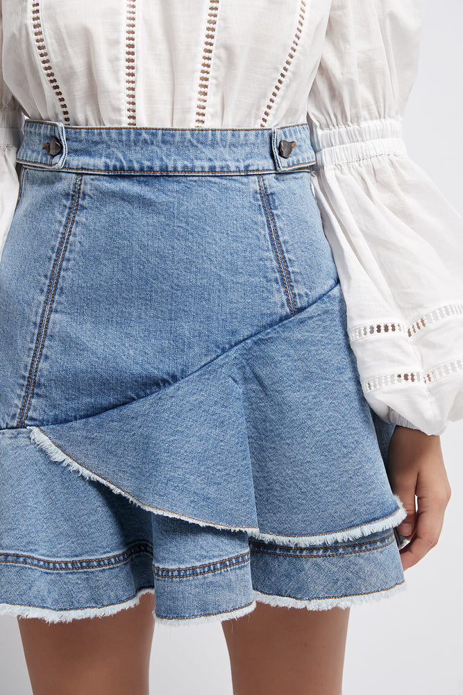 Silvatica Denim Frill Mini