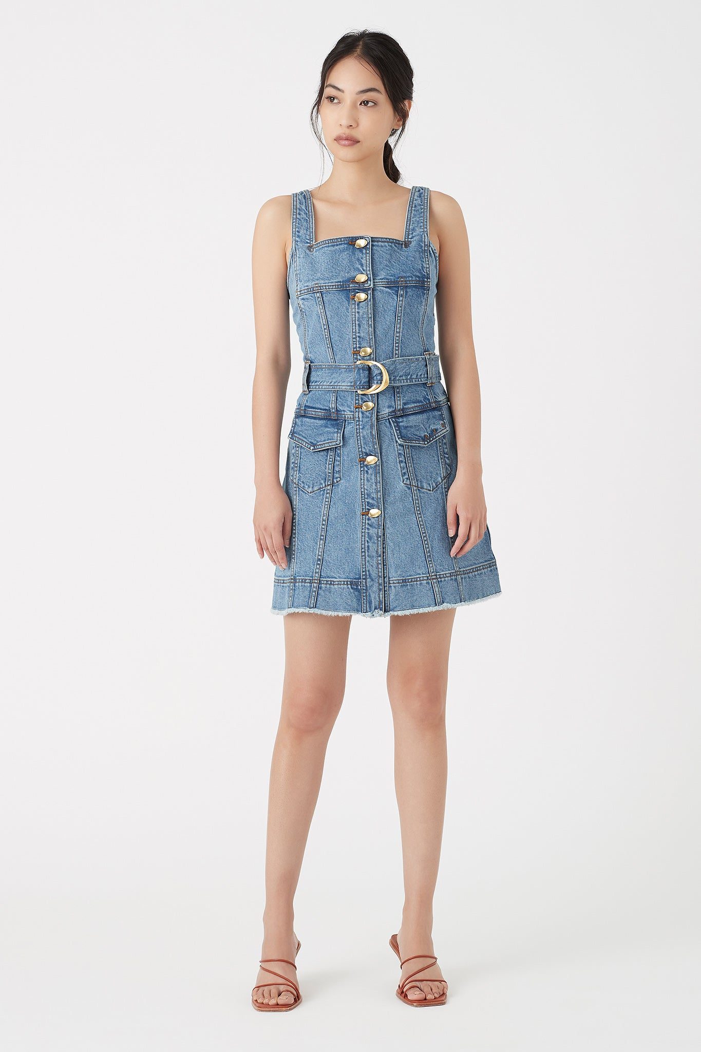 Paperbark Denim Belted Mini Dress Outfit View
