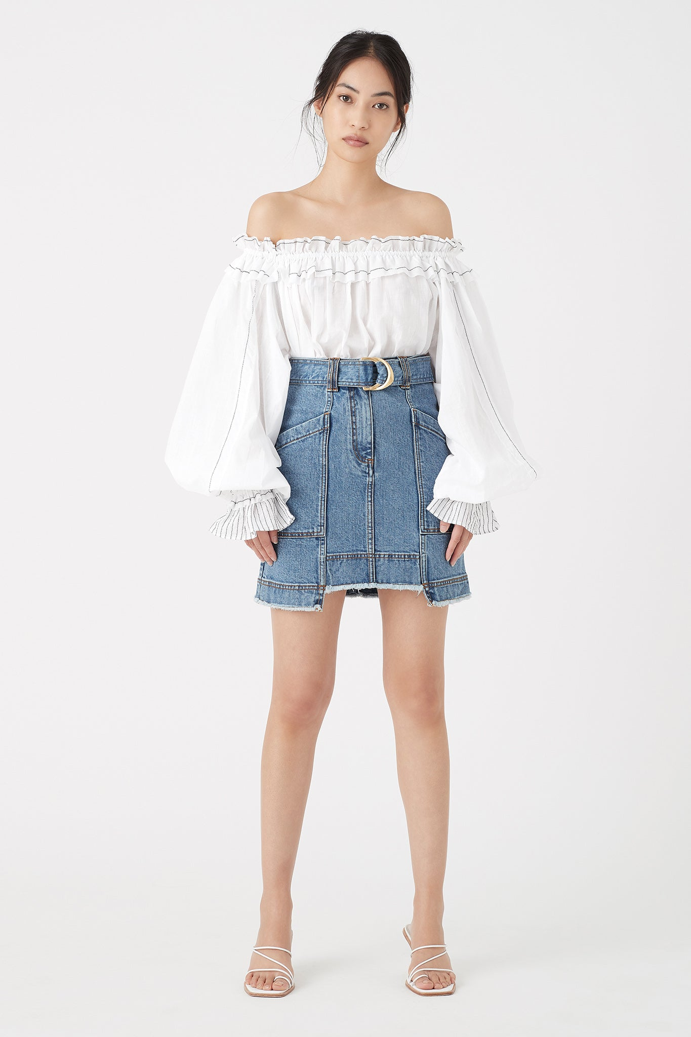 Paperbark Denim Belted Mini Skirt Outfit View