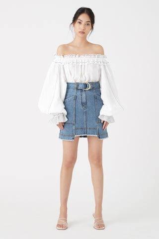 Paperbark Denim Belted Mini Skirt