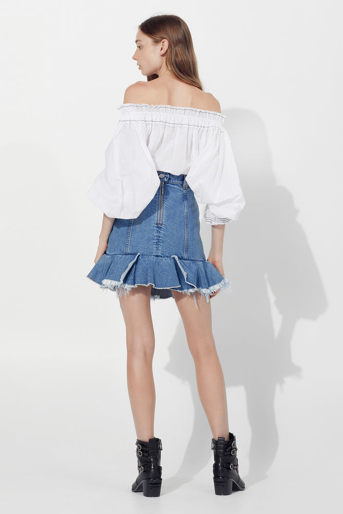 official best sale really cheap Saltwater Denim Mini Skirt in Classic Wash – Aje