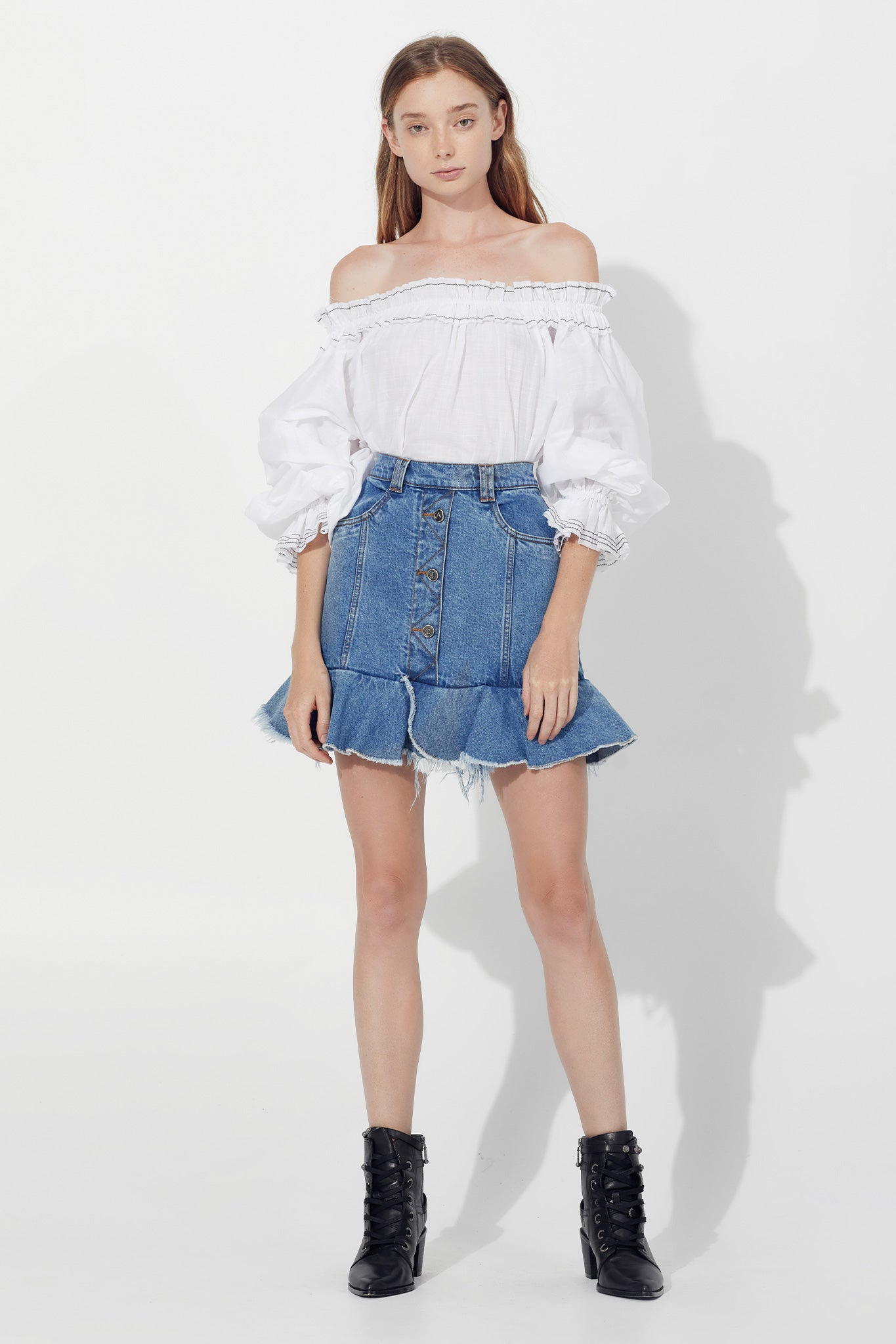 Saltwater Denim Mini Skirt Outfit View