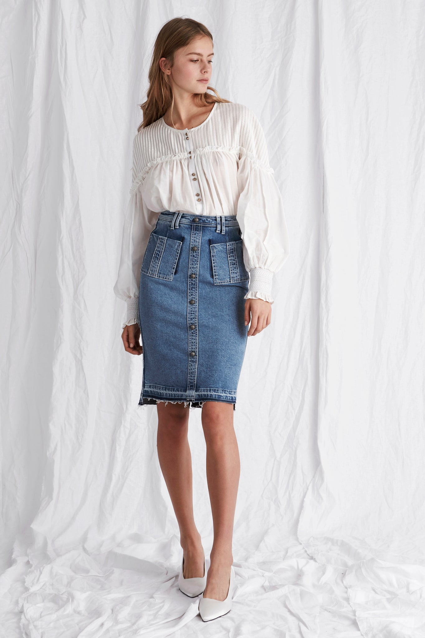 Schiffer Denim Midi Skirt Outfit View