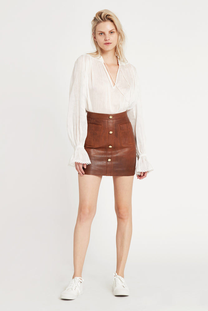 2c6a3f560 Shrimpton Mini. Tarnished Tan Leather Skirt. An Aje Icon. $ 395.00. Previous