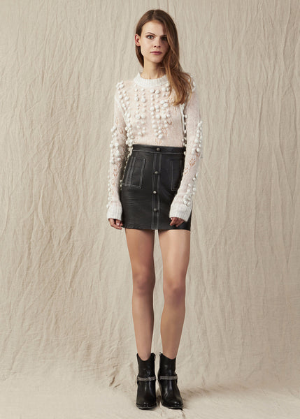 Aje textured leather micro-mini Shrimpton skirt in is the ideal transeasonal wardrobe staple. High waisted cut. Unique button detailing. A must have Aje signature piece.