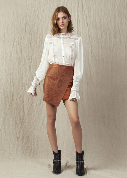 Aje leather and snake skin wrap skirt in tan. Zipper at centre back for ease of wear. A stylish addition to your wardrobe.