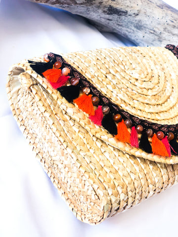 Straw Envelope Clutch with Tassels-LB 004