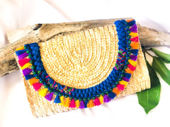 Straw Envelope Clutch with Tassels-LB 001
