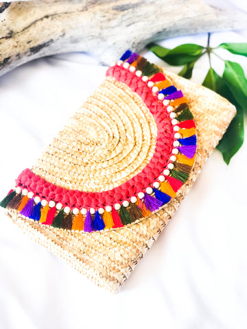 Straw Envelope Clutch with Tassels-LP 002